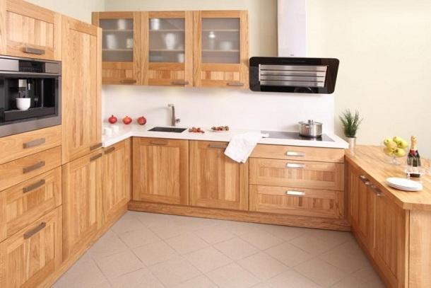 Meble kuchenne z drewna  jaki gatunek drewna wybrać?  nowoczesne kuchnie  -> Kuchnia Fornir Buk