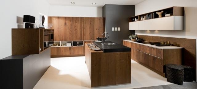 Naturalne i eleganckie kuchnie z fornirem  nowoczesne   -> Kuchnie Z Fornirem