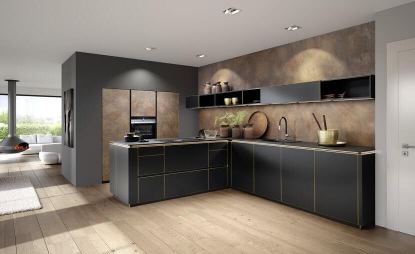 Trendy w aranżacji kuchni - kuchnia z metalicznymi Frontami od Nolte