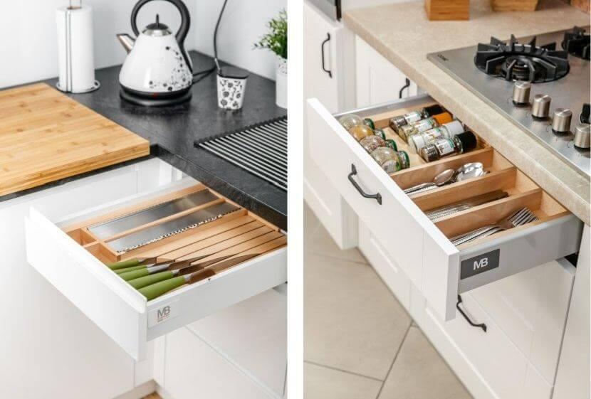 Wyposażenie mebli kuchennych - drewniane wkłady do szuflad na noże i przyprawy
