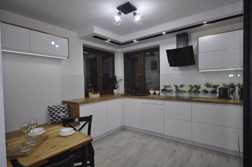 Meble Gal - biała kuchnia z siedziskiem