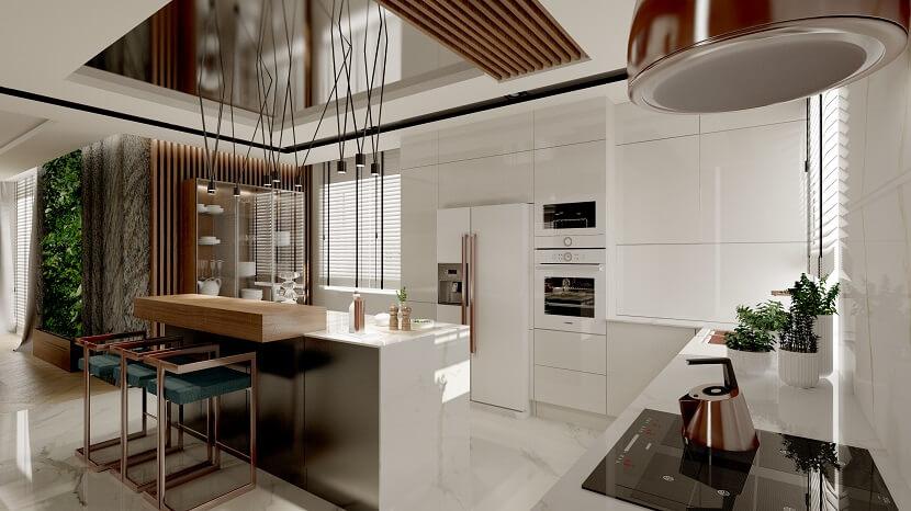 Stylowe połączenie bieli i naturalnego drewna w nowoczesnej, rodzinnej kuchni
