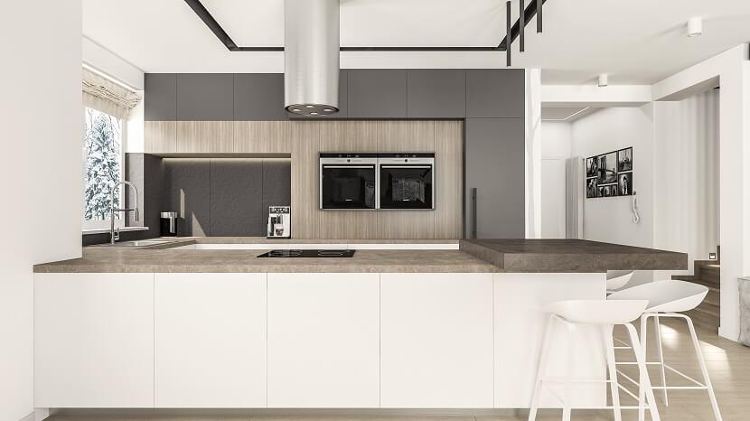 Nowoczesna i minimalistyczna kuchnia w stonowanych kolorach