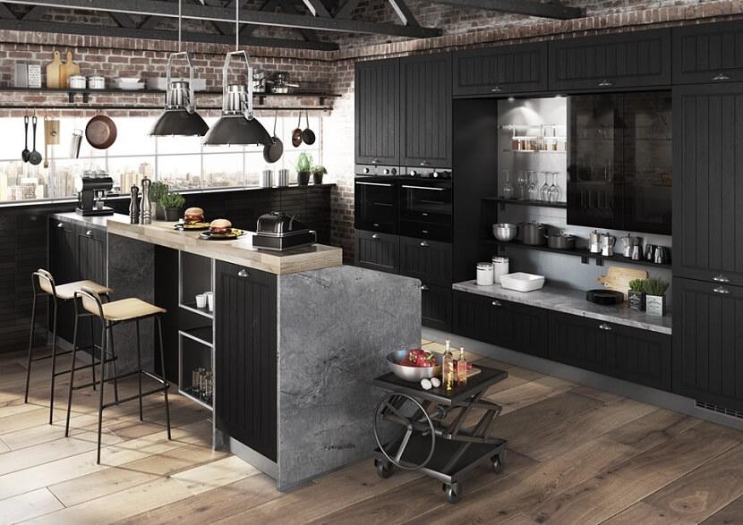 Kuchnia w kolorze czarnym. Przytulna i pełna ciekawych rozwiązań projektowych